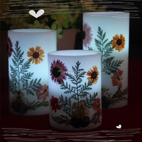 China exporting flower decoration color changing flameless battery electric wax pillar candle LED with flower decor