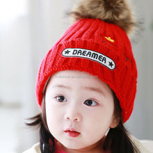 2015 Winter Latest DREAMER and Small Stars Embroidery Faux Fur Pom Pom Knitting Baby Kids Hat and Cap