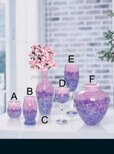 Crackle Temper Purple Mosaic Wholesale Glass Vases & Mosaic Candle Holder