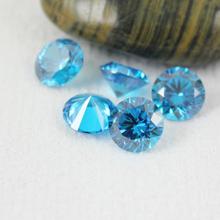 hearts and arrows lab created aquamarine cz gem stone