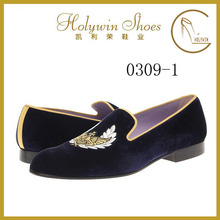 2015 new design high quality embroidery velvet men loafers shoes