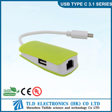 Portable USB 3.1 Type C Hub with RJ45 Lan 2 ports Ethernet