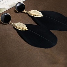 High Quality Gold-plated Alloy Leaves Feather Earrings