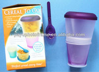 JY6040 Cereal To Go Containers(Pack of 1) / Non-toxic freezer gel cup / BPA free cereal dispenser