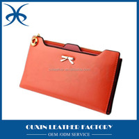 Guangzhou fty high quality faux/synthetic plain PU leather credit card wallet magazine clutch purse w/bow decoration wholesale