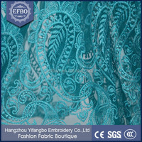 Hand embroidered beaded tulle fabric /Retail types of net fabric / Green embroidery fabric with pearls