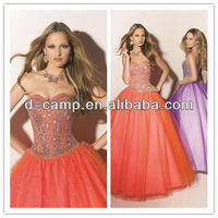 OC-967 Ball gown corset lace up thai silk kaftans evening dress 2012