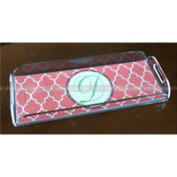 Acrylic Cocktail Tray with Handles, Perspex Serving Tray with insert, Lucite Tray with handles