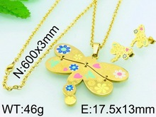 Delicate Flower Heart Dragonfly Jewelry Set Korean Gold Plated Jewelry Cheap Jewelry Set For Weddings