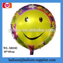 Popular 18 pulgadas venta al por mayor globos de mylar grande smiley cara redonda globo de cumpleaños