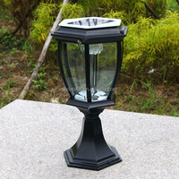 Garden Decoration High-grade Outdoor Solar Pillar Lamp LED Pillar Light Copper European Classical Pillar Lamp