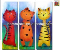 Hand-painted high quality animal paintings three cats design