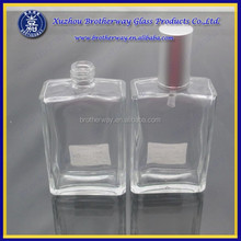100ml flat square glass perfume bottle with screw neck