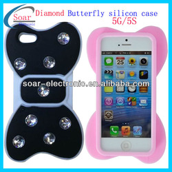 cell phone diamond butterfly silicon case for iphone 5 5s