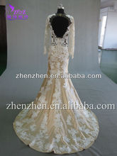 2015 New Fashion Ladies T-W0012 Low Back See Through Lace Mermaid Wedding Dresses