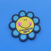 smile flower with custom logo pvc cup mat coaster