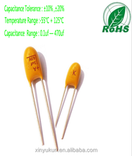 100% high quality best price full range AVX radial tantalum capacitors 1UF 63V Capacitor manufacturer in China,(ROHS)