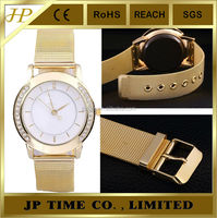 lovely smart good impression flexible strap Golden Imitation fake diamond Watch