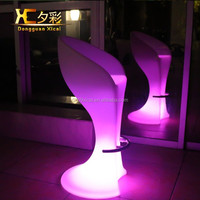PE led nightclub table and chairs RGB rechargeable led plastic bar chair