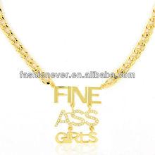 Urban Glam Modern Metallic Fine Ass Girls Crystal pendant Necklace