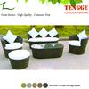 5pcs Outdoor Patio Round Furniture Black Wicker Sofa Set