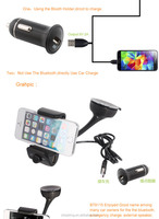 Smart bluetooth car phone holder and hands free car kit with car charger