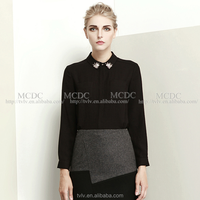 2015 Wholesale High end Noble Lady tops black polo collar with bead