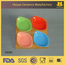 Ceramic serving set, mini colored dishes with wood base