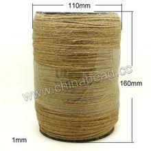 fábrica de vender color natural 1mm cuerda de cáñamo para la fabricación de joyas