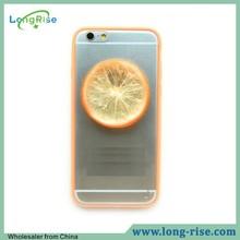 Novel Fruit Design for iPhone 6 Plus TPU Bumper Case Transparent Acrylic Back Cover Case for iPhone 6 Plus 5.5 inch, Orange
