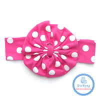 Solid Color Rabbit Ear knot headband, Boutique cotton baby knot headband wholesale red with white dot