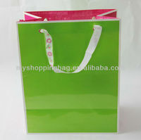 Custom Green Euro Tote Paper Bag /gift paper bag with printed stain ribbon