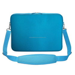 factory price water-resistant neoprene 15inch laptop sleeve with handle and shoulder strap