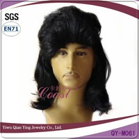 Cheap black curly synthetic fashion mens hair wigs