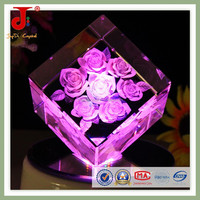 3D inner laser engraving rose flower crystal engraving gifts