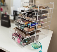 Alibaba China 2015 Hot Selling Lucite Cosmetic Organizer Clear Makeup Storage Acrylic Beauty Drawer,Vanity Shampoo Display Rack