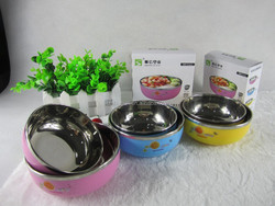 2015year 2 pcs set stainless steel kids bowl lunch box food container