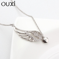 OUXI 2015 Zircon diamond heart and angel wing sterling silver necklace Y10020