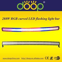 2015 wholesale IP67 rgb curved led bar, 288w 50inch strobe light bar, flash led bar with remote control