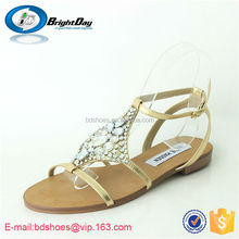 Causal beach sandals golden color diamond shoes rhinestone sandals