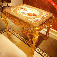 Luxury French Louis XV Style 24K Gold Plated Brass Coffee Table/ Royal Palace Decorative Porcelain Side Table,Small Dining Table