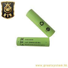 GTR 3.6V 2500MAH 40A IMR18650 Battery for Electronic cigarettes