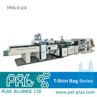 Taiwan made 2 or 4 lines flexible PE T-shirt/T shirt/Tshirt bag making machine