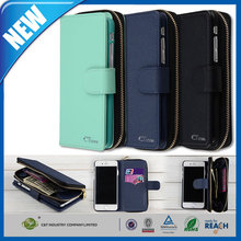 C&T Book Cover Purse Case Black Premium PU Leather Zipper Case Magnet Knocked-down Case with Stand Flip Cover for iPhone 6 Plus