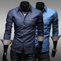 2015 NEW High quality Fashion newest mens tall long t shirts slim fit formal shirts for men dress shirt