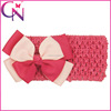 Infant Crochet Headband With Grosgrain Ribbon Bows CNHB-13082815-2