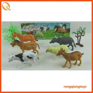 Granja animal plástico suave set juguetes ovejas perro caballo tigre camel y cebra con árbol AN9996161S-1