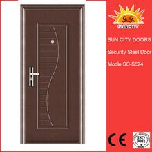 Simple flush design power coating steel exterior door SC-S024