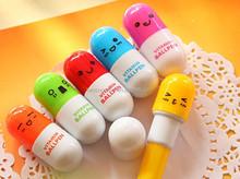 Cute Capsule Shape Retractable Plastic Pen