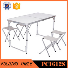 Folding portable alumimum camping table+4 pcs chairs sets